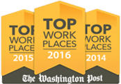 Washington Post top workplaces award 2014, 2015, 2016