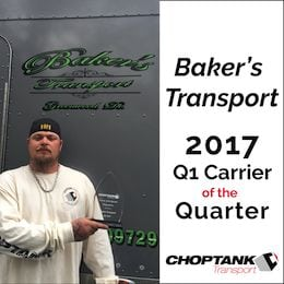 Baker's Transport Carrier of the Quarter 2017